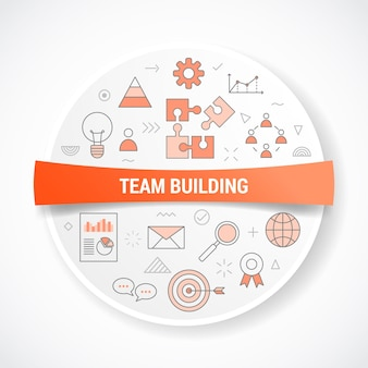 Team building business concept with icon concept with round or circle shape illustration