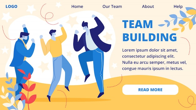 Team building horizontal banner. office event.