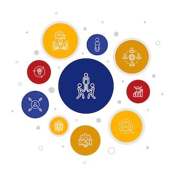 Тимбилдинг инфографики 10 шагов пузырь дизайн. сотрудничество, общение, сотрудничество, руководитель группы простые значки