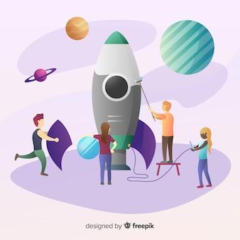 チームビルディングのロケットの背景
