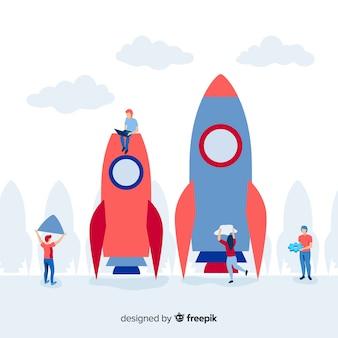 Team building rocket background