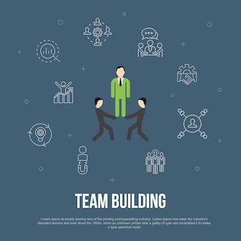 Тимбилдинг модный ui плоский концепт с простыми значками линии. содержит такие элементы, как сотрудничество, общение, сотрудничество, руководитель группы и многое другое.