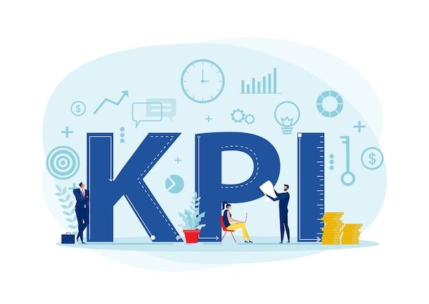 主要業績評価指標の単語レタリングタイポグラフィを備えたチームビジネスアナリストkpi組織