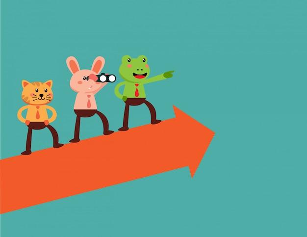 Team of business animal on arrow graph