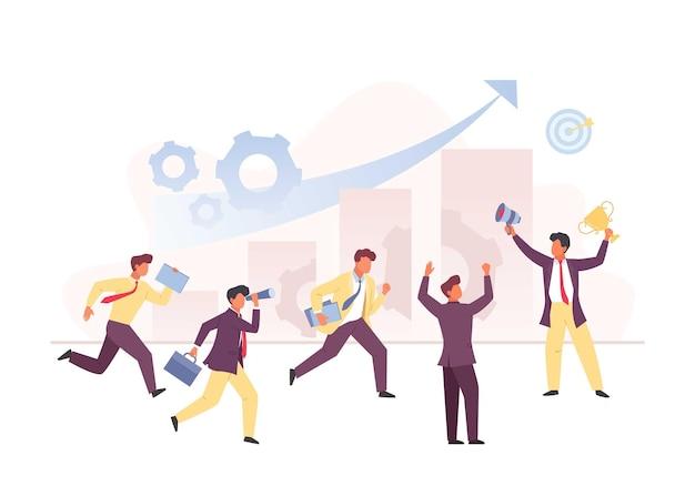 チームビジネス競争の概念。実行中のグループマネージャーのキャラクター