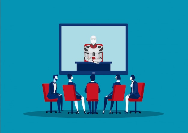 Team business having teleconference meeting with robot