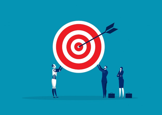 Team business holding with big target illustration