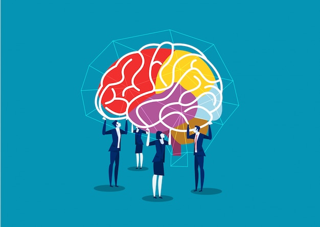 Team business lift brain to connect idea