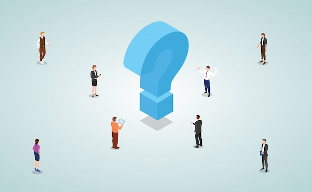 Team of business people male and female work to solve problems and find solutions with modern isometric style