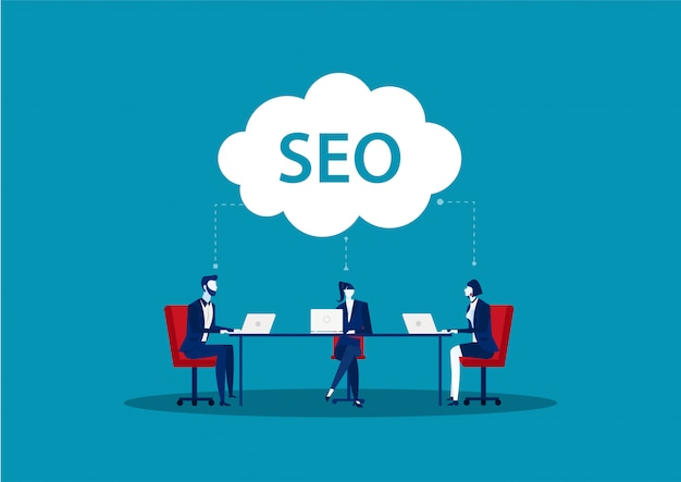 Team business search engine optimization concept of seo .