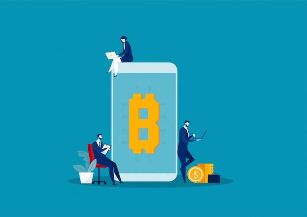 オンライン資金調達とビットコインとブロックチェーンへの投資のためのチームビジネス検索ラップトップ。