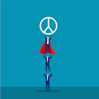 チームのビジネスマンは、平和の概念ベクトルの国際的な日に平和のシンボルを保持しています。