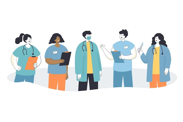 Team of cartoon hospital or clinic staff in masks