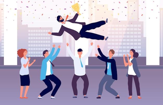 팀이 승리를 축하합니다. 직원들이 축하 행사에 동료를 던져