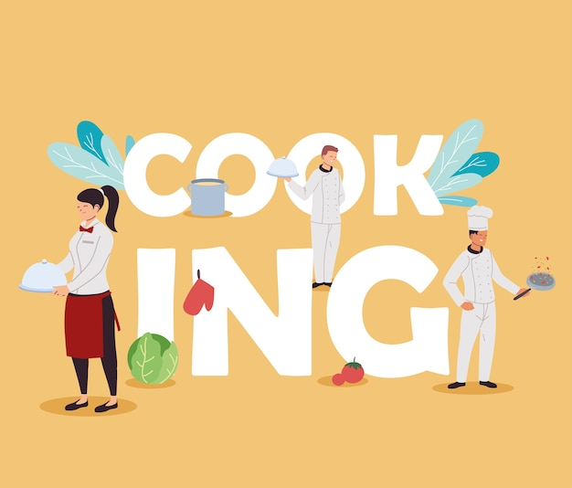 Team of chefs and waiters for food buffet illustration design