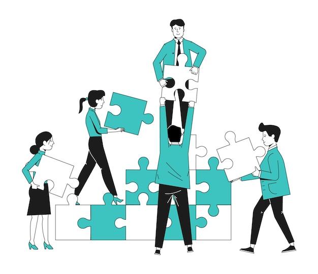 チームコラボレーションのコンセプト。パズルを持つオフィスの人々。チームワーク戦略ベクトル図