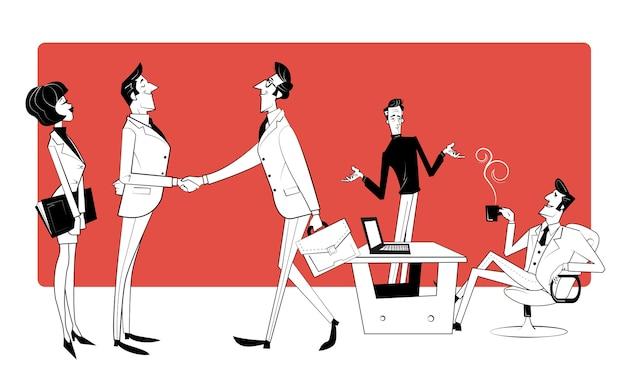 팀 협업, 솔루션 검색 협력, 전문 마케팅 조사, 비즈니스 회의. 비즈니스 트렌드, 디자인 사고, 비즈니스 기회. 스케치 스타일의 레트로 그림입니다.