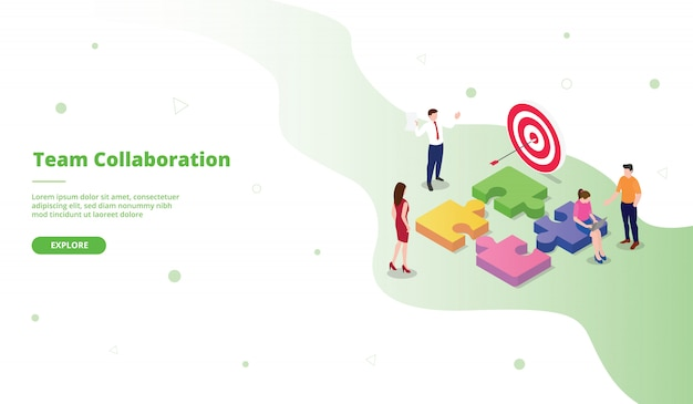 Team collaboration landing page template in isometric style