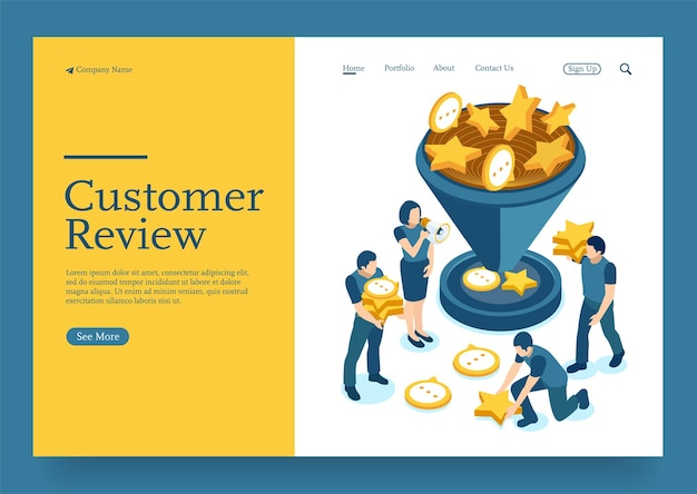 Team collecting and calculating customer review and sales with funnel isometric concept