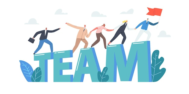 Team concept. business characters holding hands climbing up to success, leader with red flag, business people growth, teamwork, leadership poster, banner or flyer. cartoon people vector illustration