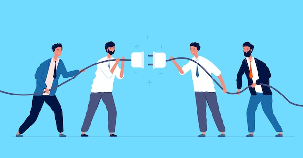 Team connected plug. business people connecting different connectors team managers cooperation concept. connect strategy cord, success deal together illustration