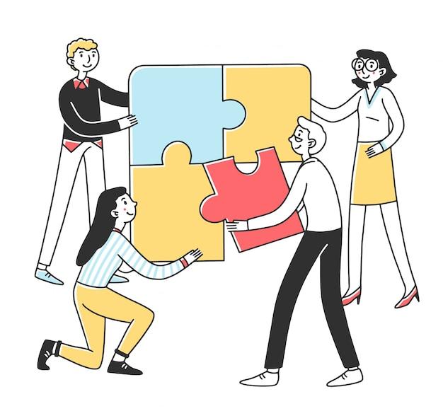 Team connecting puzzle parts
