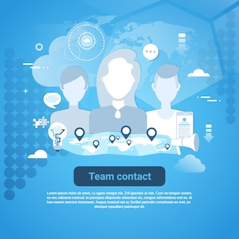 Team contact web banner with copy space