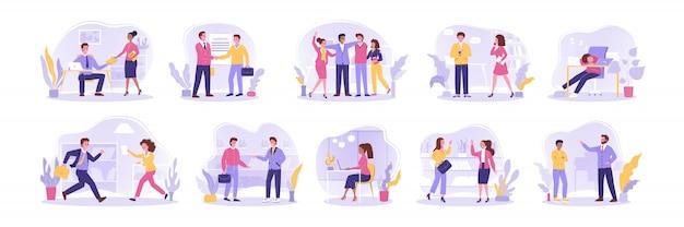Команда, контракт, набор, переговоры, коммуникация, бизнес-концепция