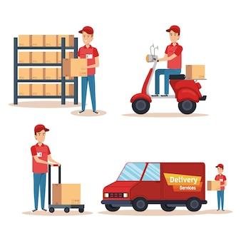 Team couriers characters delivery service