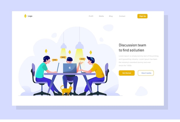 Team discuss strategy solve problem landing page business finance flat gradient style illustration