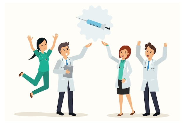 Team of doctor are very happy due to the discovery of vaccine