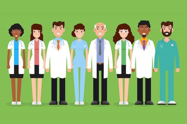 チームの医師、外科医、看護師。異なる文字のセット。