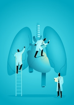 Team of doctors diagnose human lung and heart