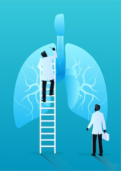 Team of doctors diagnose human lungs. medical and health care concept