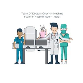 Team of doctors over mri machine scanner