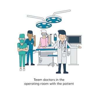 Team doctors in the operating room