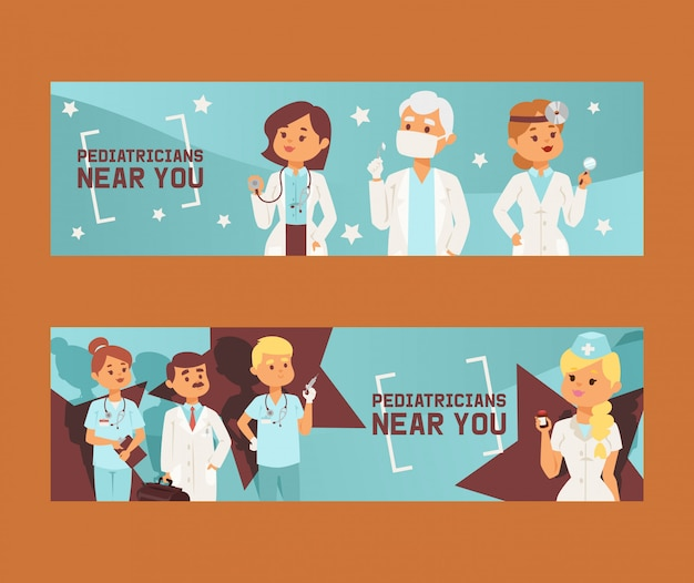 Team of doctors and other hospital workers set of banners vector illustration. medicine professionals and medical staff people in uniform doctor