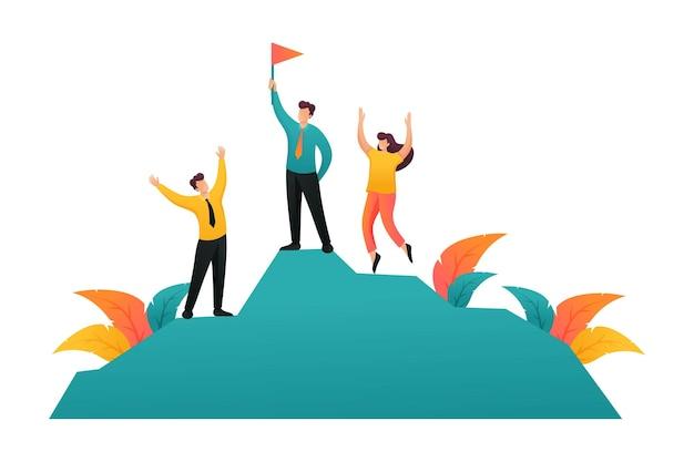 팀 기업가는 성공 위에 승리를 축하합니다. 플랫 2d 캐릭터. 웹 디자인에 대한 개념입니다.