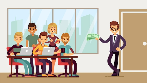 Team found investor. businessman invests young professionals. new startup, business proposal or profitable loan. man and group of student developers at office vector illustration