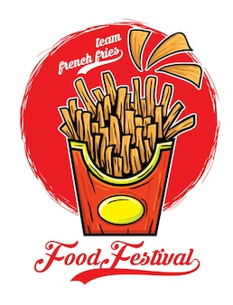 Team french fries food festival vector illustration