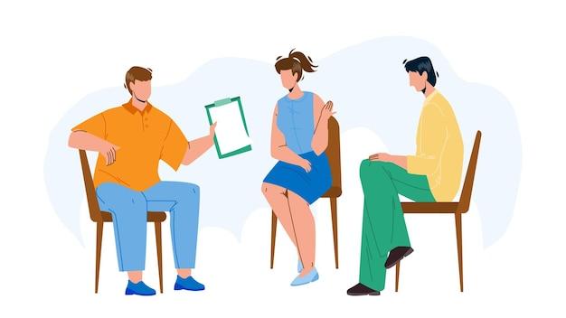 팀 그룹 토론 및 함께 벡터 의사 소통. 젊은 남자와 여자 팀 그룹의 자에 앉아서 공생에 대해 논의. 검사 목록을 가진 소년 및 문자 플랫 만화 일러스트와 함께 이야기