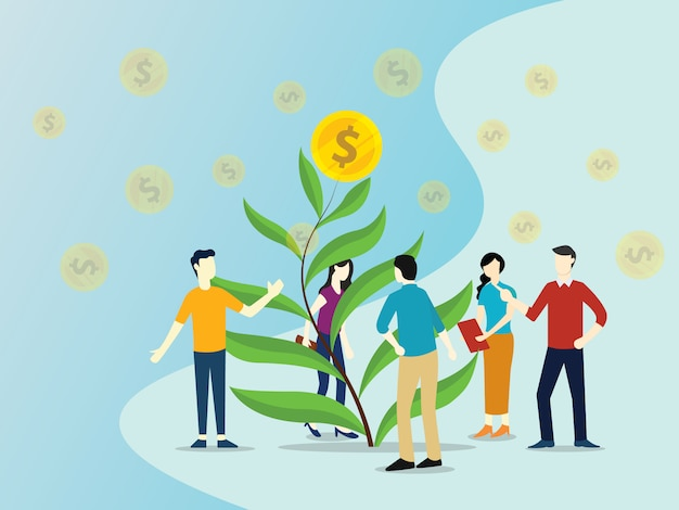 Team growing investment with tree leaf with gold coin