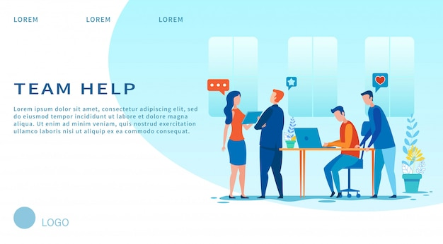 Team help  landing page cartoon layout