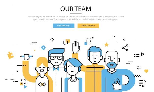 Team infographic icon set banner