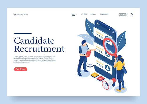 Team isometric hiring and recruitment isometric concept concept