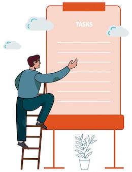 Team leader on ladder setting tasks on to-do list