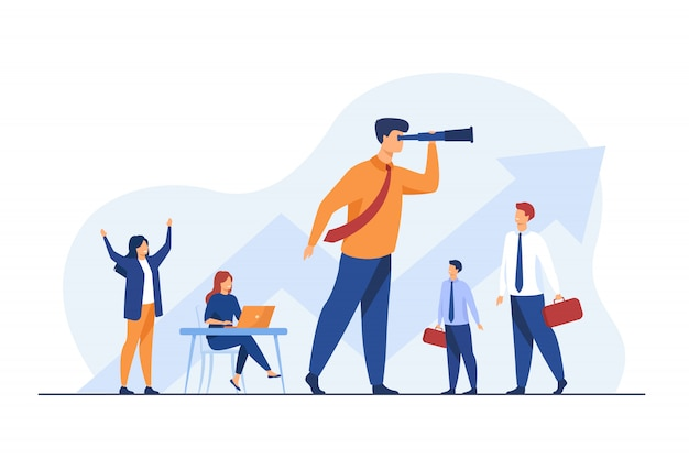 Team leader and teamwork concept