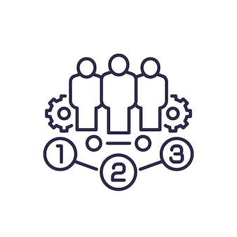 Team management line icon with gears