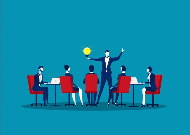 Team meeting in business concept. group of businessmen doing discussion communication of teamwork.idea thinking illustration.