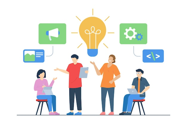 Team meeting looking for ideas for business vector illustration